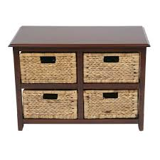 osp home furnishings seabrook espresso 2 tier storage unit with natural baskets
