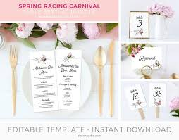 Table Setting Templates Bundle Melbourne Cup Table Setting Template Derby Menu Place Cards Tent Cards Table Number Table Decor Editable Instant Download
