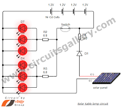 simple solar table lamp circuit for your home circuits gallery during night if the switch is on then led s glow by the charge stored in the battery