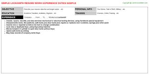 locksmith resume