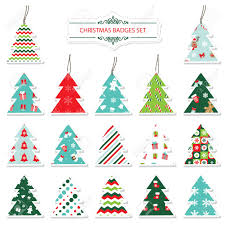 Christmas Tree Labels Christmas And New Year Labels And Stickers In The Shape Of A