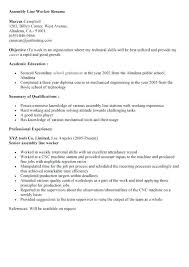 Manufacturing Assembler Resume Samples Production Line Worker Resume