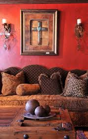 living room with western home decor ideas wall cross hanging art design and charming cupcake