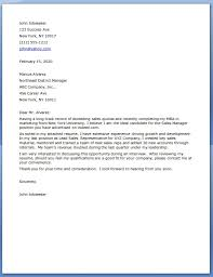 Sales Manager Cover Letters Letter Application Resume Regional Entry