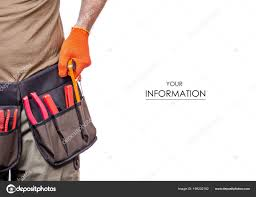 construction belt on a man tool belt builder pattern on a white background isolation photo by evgenyjs1