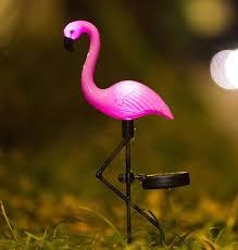 solar powered flamingo bird garden art