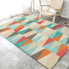 blue and orange rug fashion geometric turquoise blue orange triangles door mat pad parlor living room blue and orange rug