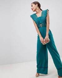 lace top jumpsuit with wide leg