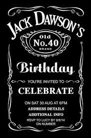 Jack Daniels Birthday Digital Printable Invitation Template 40th