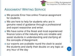 finance assignment writing assignment