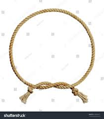 Old Dirty Rope Circle Frame Isolated on White Background. #180580415