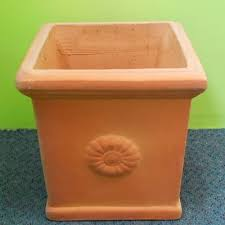 This square Pots are terracotta pots with a bit of a white washed look. Terracotta  pots are timeless they always seem to be in demand.