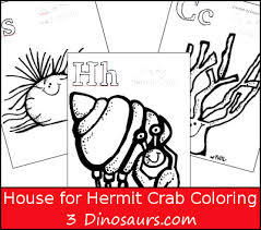 Small Picture Free House for Hermit Crab Coloring 3 Dinosaurs