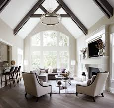 Vaulted Ceiling Beams Ideas Living Room Transitional With White