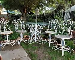 white wrought iron furniture. beautiful vintage 7 piece chippy rusty white wrought iron scroll patio table with 4 chairs and furniture