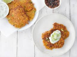 for a festive addition to any holiday table try these crispy sweet potato latkes teamed with apple raisin chutney and jalapeno lime sour cream