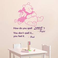 Us 632 20 Offwall Decal Quote How Do You Spell Love You Feel It Winnie The Pooh Piglet Vinyl Wall Sticker Nursery Children Room Murals M 71 In