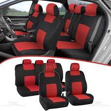 details about universal split bench car seat covers for front rear two tone black red