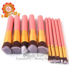 kabuki 10 pcs professional soft make up brush set pink gold