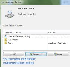 Windows 7/8/10 File Search Indexing Options