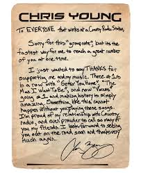 Chris Young Writes Thank You Note Aa Chris Young Band