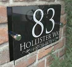 street address plaque modern glass