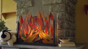 stained glass roaring fire screen sku lt7598 wind weather