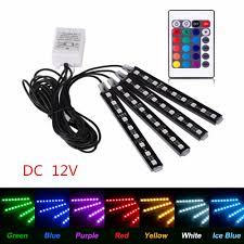 Coloured Interior Car Lights Details About 4x Car Rgb Led Strip Lights Decorative Atmosphere Lamp Full Color Interior Light
