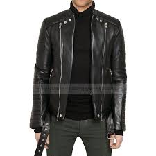 mens black leather biker quilted jacket zoom mens