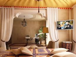 Decorating: Cool Moroccan Bedroom Decor With Wall Mount Flat Tv And White  Curtain Panels -
