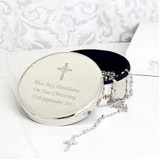 rosary beads and personalised christening trinket box
