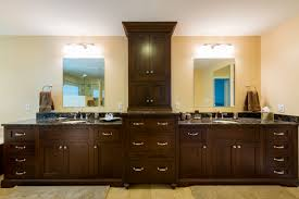Double Mirrored Bathroom Cabinet Brown Polished Wooden Bathroom Double Vanity With Marble Top And