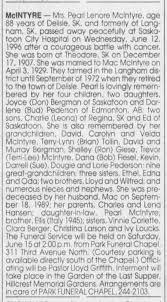 Pearl(hanson) MacIntyre (1996 Obituary) - Newspapers.com