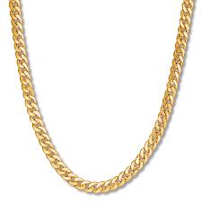 men s miami cuban link necklace 10k yellow gold 24 length