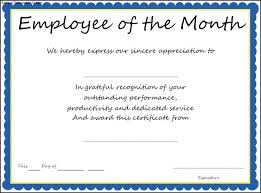 Employee Of The Month Certificate Templates Free Employee Of The Month Certificate Templates Kubreeuforicco