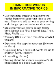 informative paragraph writing ppt video online transition words in informative topics