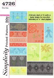 Simplicity 4726 Vintage Pattern Cross Stitch Embroidery Color Charts