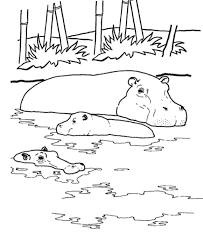 Small Picture Hippo In The Water African Animal Coloring Pages Kleurplaat