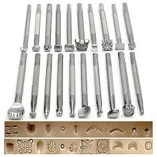 25pcs manual leather craft stamping carved wooden hammer embossing tools kit set