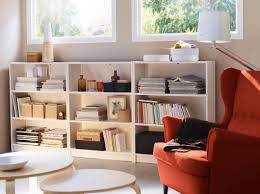 Living Room Bookcases A Basement Living Room With Three Low Billy Bookcases In White And