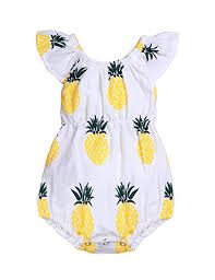 <b>Newborn Baby Girl</b> Clothes Cute Pineapple Print Ruffles Yellow Bow...