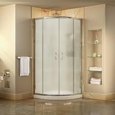 dreamline prime white floor round 2 piece corner shower kit actual 74 75