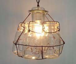 cottage mason jar chandelier. Vintage Mason Jar Basket CHANDELIER Light Fixture By LampGoods $120 Ceiling Fan Light, Cottage Chandelier G