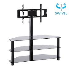 rfiver black corner floor tv stand with swivel mount bracket accommodates tvs up to 65 inch 3 tier tempered glass shelves for audio