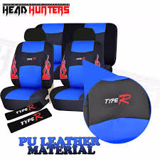 head hunters type r universal fit pu leather car seat cover set blue