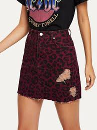 Leopard Print Rip Detail Skirt