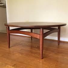 mid century modern circular walnut coffee table