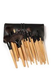 24 piece professional makeup brush set with vegan leather travel case wood