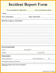 Incident Report Form Template Word Btcromania Info