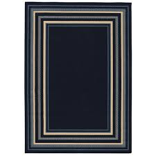 border navy and blue 5 ft x 7 ft indoor outdoor area rug